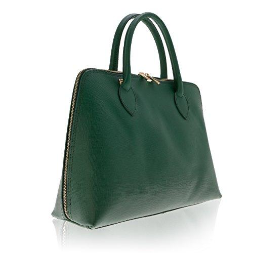 Véritable in Florence Main Cuir à 12 Vert pour 37 27 Made Femme Sac cm YXx8RUnn