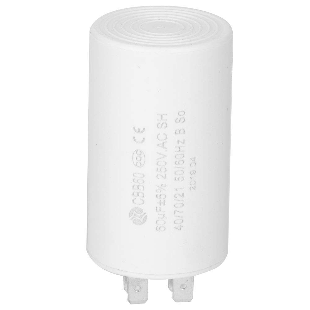 CBB60 Capacitor 60uF 250V AC 50//60Hz Run Capacitor for Motor Start-up Cylinder Shaped Run Round Capacitor for Washer Condenser Air Conditioners Compressors Pump Motors 50//60Hz AC 250 Volt White