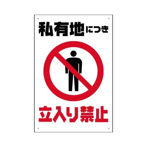 表示看板 「私有地につき立入り禁止」 反射加工あり 縦型 中サイズ 40cm×60cm B01DU0A7I6