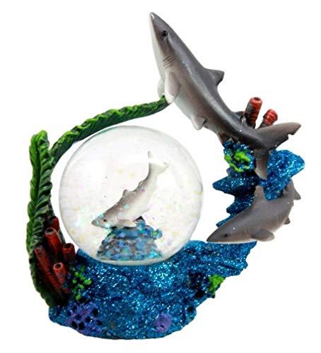 (Ky & Co YK Ocean Apex Hunter Great White Shark Jaws Family Glitter Water Globe Figurine 4