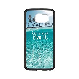 Samsung Galaxy S6 Cell Phone Case Black Wonderful Clear Ocean Beach Life Is About Live It X1X1RE