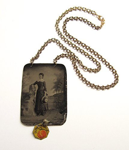 Type Cling - Handmade Vintage Assemblage Tintype Necklace Cling Peach Tobacco Tag Antique