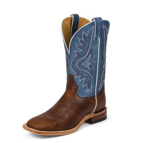 Tony Lama Mens Avett Blue 11 Height (7955) | Piede Pecan Bisonte | Stivali Western Pullon | Stivale Blu In Pelle Da Cowboy | Fabbricato Negli Usa