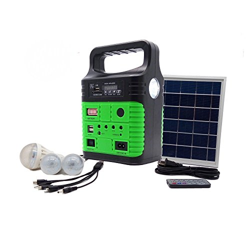 Generator Panel - Portable Solar Generator with Solar Panel,Included 3 Sets LED lights,Solar Power Inverter,Electric Generator,Small Basic Portable Generator Kit,Solar Lights for Home & Camping,Power for Solar Fans