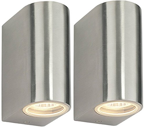 2 x Adjustable Outdoor Wall Light Stainless Steel IP44 35w Zenon Lighting Collection ZLC010