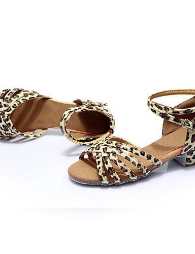 Latin Customizable Dance Leather ShangYi Chunky Other Silver Leopard Black Gold Heel Women's Silk Brown Brown Shoes xIwdqCYq