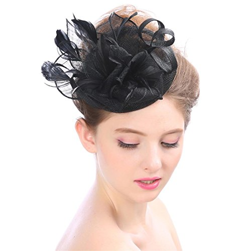Amiley Fascinaor Hair Fascinators Hat Flower Mesh Ribbons Feathers on a Headband and a Clip Tea Party Headwear for Girls and Women (Black) for $<!--$4.98-->