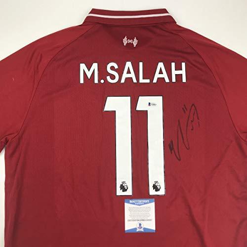 Autographed/Signed Mohamed Salah Liverpool Red Premier League Soccer Jersey Beckett BAS COA