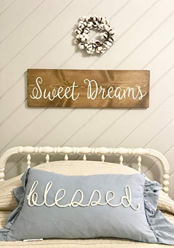 (Venu67Hol Sweet Dreams Sign Rustic Wood Plaque Sign Bedroom Wall Decor Nursery Sign Master Bedroom Sign)