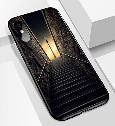 iPhone X/XS Ultra-Thin Phone case Stairway and Street Light Behind The Pont Neuf Paris France Anti-Drop Anti-Slip Soft Convenient Protective Shell
