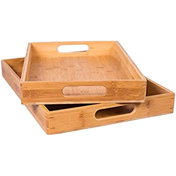 Awesome BirdRock Home 2pc Bamboo Serving Trays Set With Handles | Wood | Food |  Breakfast Tray Amazing Design