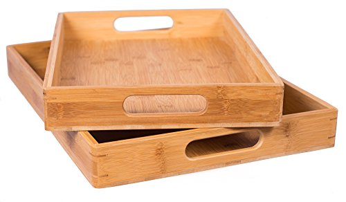 [BirdRock Home 2pc Bamboo Serving Trays Set with Handles | Wood | Food | Breakfast Tray | Party Platter | Nesting | Kitchen and Dining] (Nesting Wood Trays)
