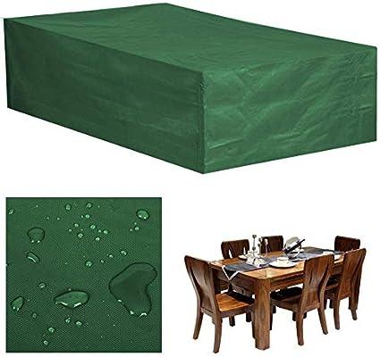 CATRP-lonas Fundas para Muebles De Jardín Impermeable Funda De Mesa Exterior Funda De Protección Rectangular Guardapolvo,Verde (Size : 210x140x80cm): Amazon.es: Hogar