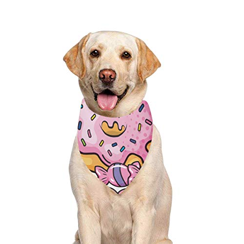 (JTMOVING Dog Scarf Donut Candies Printing Dog Bandana Triangle Kerchief Bibs Accessories for Large Boy Girl Dogs Cats Pets Birthday Party Gift)