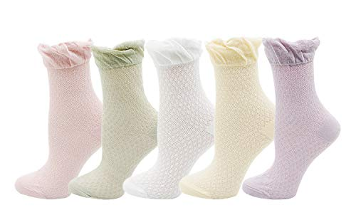 Lovful Women's Ruffle Trim Summer Thin Socks Soft Breathable Casual Socks for Pregnant Woman 5 Pairs, Multicolor 3 -