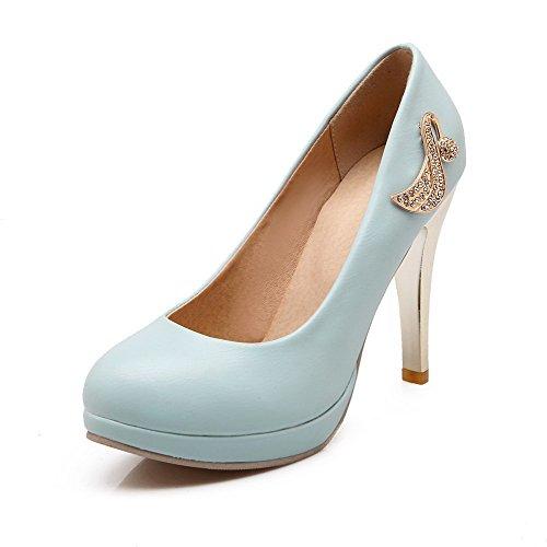 AllhqFashion Damen PU Rein Ziehen auf Rund Schließen Zehe Stiletto Pumps Schuhe Blau