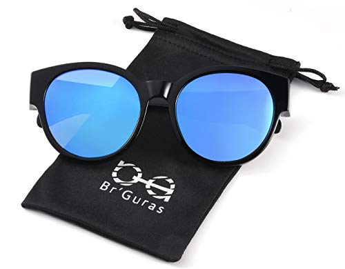Br'Guras Polarized Oversized Fit over Sunglasses Over Prescription Glasses with Cat Eye Frame for Women&Men (Black, Mirror ()