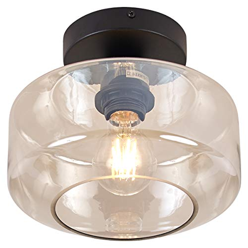 TeHenoo Industrial Ceiling Light Fixture with Cognac Glass Shade Semi-Flush for Dining Room, Bedroom, Cafe, Bar, Corridor, Hallway, Entryway, Passway