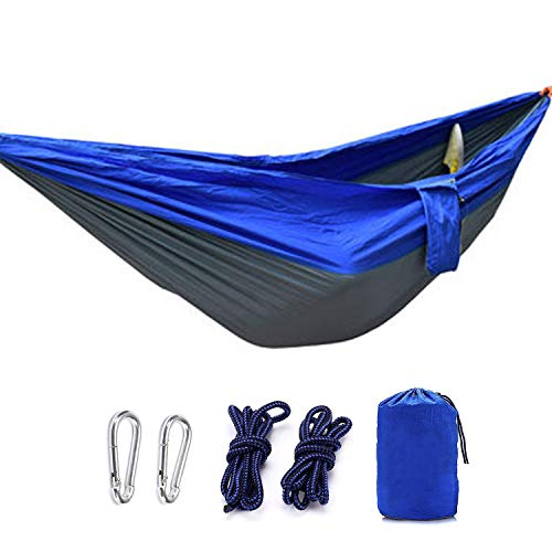 Milky House Camping Hammock, Double Hammock for Backpacking Camping Travel Beach Yard,Lightweight Portable Parachute Nylon Hammock-BG