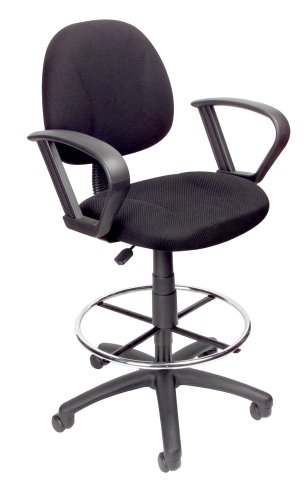 (Boss Office Products B1617-BK Ergonomic Works Drafting Chair with Loop Arms in Black)