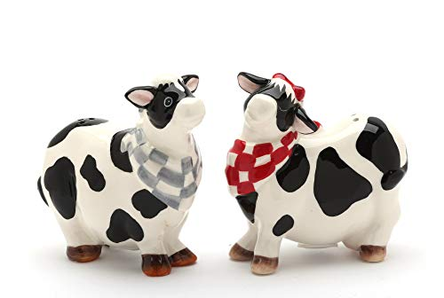 Cosmos Gifts 61731 Fine Ceramic Milk Cow Couple Wearing Red Checkered and Blue Checkered Bandana Salt and Pepper, 3-1/4
