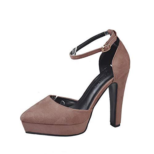 Yukun zapatos de tacón alto Estilete De Tacón Alto, Boca Baja, Tacones Altos A Prueba De Agua, Zapatos Impermeables con Plataforma, Zapatos De Mujer, Boda Khaki