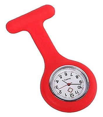COCOTINA Gel Silicone Nurses Fob Watch Pocket Pin on Tunic Brooch Washable Nurse (Red)