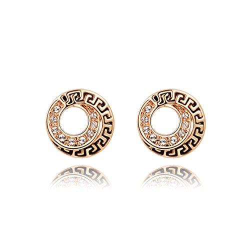Price comparison product image Duo La Elegant European Style Cubic Zirconia 18K Rose Gold Plated Retro Lady Stud Earrings