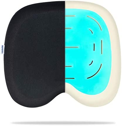 HUPOFOT Gel Seat Cushion Non-Slip Orthopedic Cooling Gel Memory Foam Coccyx Cushion for Tailbone Pain for Office Chair, Car, Wheelchair Airplane Sciatica Back Pain Relief