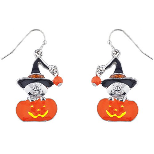Lux Accessories Silvertone Enamel Witch Pumpkin Halloween Charm Dangle Earrings -