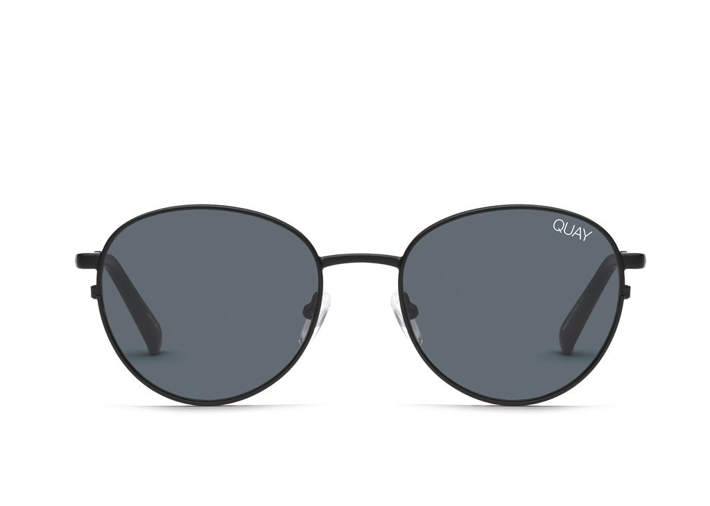 Quay Australia CRAZY LOVE Women's Sunglasses Classic Round - Black/Smoke