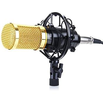 Excelvan BM-800 Condenser Studio Recording Microphone and Shock Mount Holder, Black