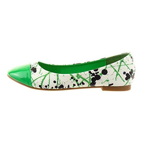 Sopily - Zapatillas de Moda Bailarinas Tobillo mujer piel de serpiente camuflaje patentes Talón Tacón ancho 1 CM - plantilla sintético - Verde