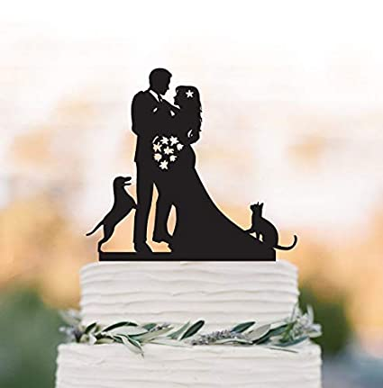 Unique Wedding Cake Topper With Dog And Cat Bride And Groom