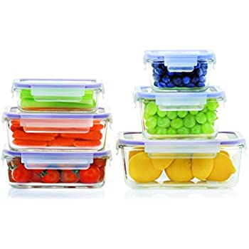 Glass Meal Prep Containers - 12 Piece Set, Borosilicate Glass, High Heat Resistance (750 °F), BPA Free, 100% Leak Proof - Microwave, Freezer, Oven & Dishwasher Safe - Glass 6+6 Set, by Popit!