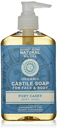 Organic Liquid Castile Soap - Admiralty Strait (Tropical Lemon Verbena) made by Whidbey Island Natural; Use beside the sink or in the shower. Gentle on the skin. No Sodium Lauryl Sulfate. No alcohol (Sodium Lauryl Sulfate Coconut)