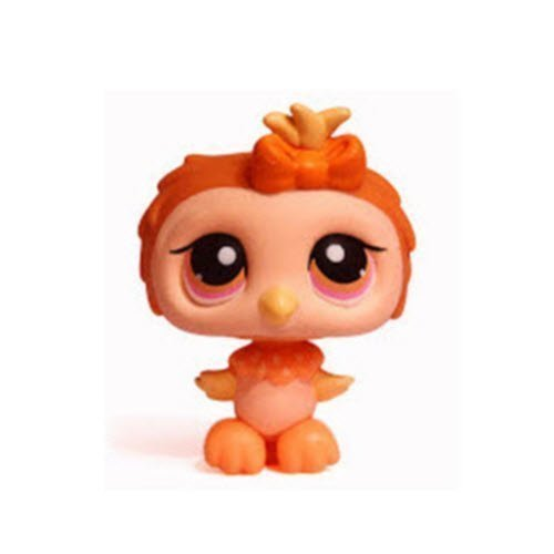 Littlest Pet Shop Owl Bird # Halloween 431 (Orange with Pink/Orange Eyes) - LPS Loose Figures - Replacement Pets - LPS Collector Toy (Out of Package/OOP)