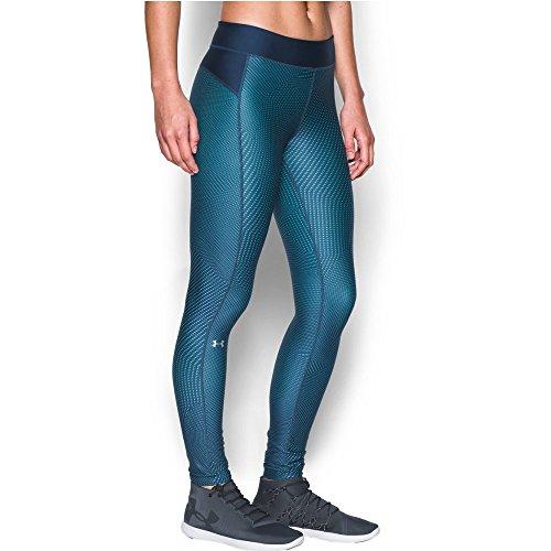 - Under Armour Girls' HeatGear Armour Printed Legging, Blackout Navy /Metallic Silver, Medium