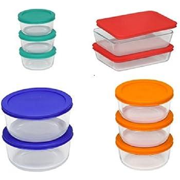 Pyrex Storage Set, Clear, Red, Orange, Blue, Green(20 Pieces)