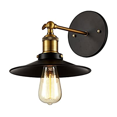 Ohr Lighting Edison Wall Mount Sconce BULB INCLUDED, Matte Black/Antique Brass (ED260W)