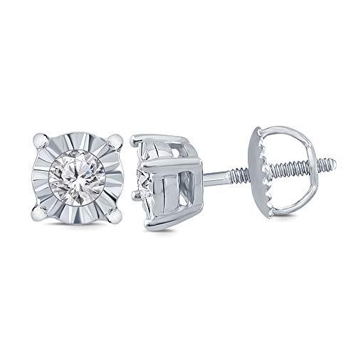 - La Joya 0.10 cttw Round White Diamond Illusion Stud Earring in 10K Gold (10K White Gold) for Teens Womens