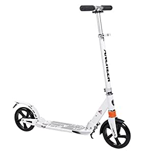 Commuter Adult Kick Scooter with Carrying Strap   Foldable Portable Adjustable   Aluminium Alloy New Scooter for Urban Riders USA (White)