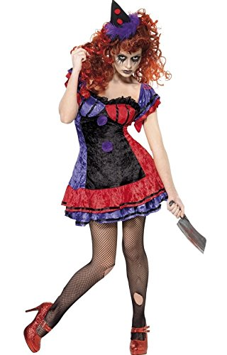 Ladies Serial Killer Clown Circus Halloween Fancy Dress Costume Outfit UK 8-14 (UK 12-14)]()