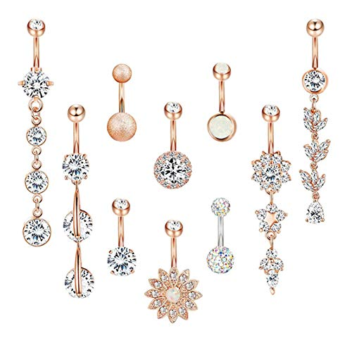 YOVORO 5PCS 14G 316L Stainless Steel Dangle Belly Button Rings for Women Navel Rings Curved Barbell Body Piercing Rose-Gold (Belly Button Rings Flower Dangle)