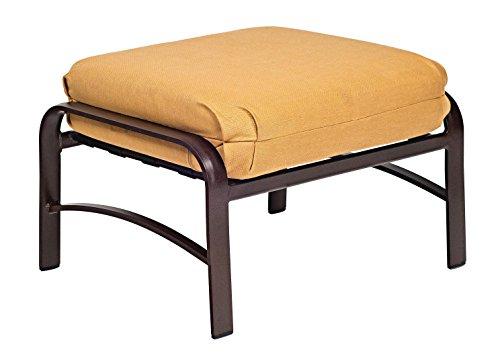 Woodard  Belden Cushion Ottoman, Hammered White, Volt (Sunbrella White Sand Cushion)
