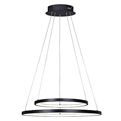 "Canarm LCH128A24BK Lexie 24 In Wide Cord Led Chandelier - Size: 24"" W x 16"" - 48"" H 42W, 3020 Lumens thru the lens, 3000K 36,000 Life hours - kitchen-dining-room-decor, kitchen-dining-room, chandeliers-lighting - 41lwwqV6RzL. SS400  -"