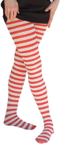 Adult Red & White Opaque Striped Tights