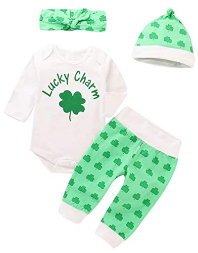 Baby Boys Girls Lucky Charm Leaf Romper+Pants+Cap+Headband 4Pcs St. Patricks Day Outfits Size 3-6Months/Tag70 (Green) -