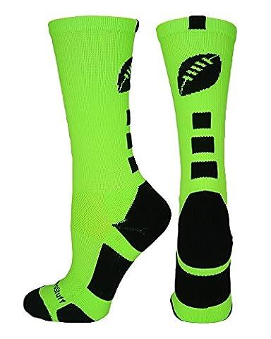 MadSportsStuff Football Logo Crew Socks - Neon Green/Black - Color Shoes Pants