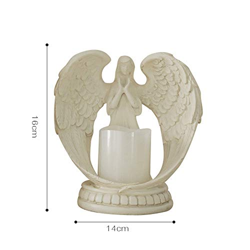 ETH Resin Crafts Wedding Gifts Home Decorations Practical Living Room Bedroom TV Cabinet Angel Electronic Candle Holder (Size : S)